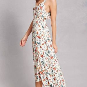 Lush cream and floral open back sundress ruffle
